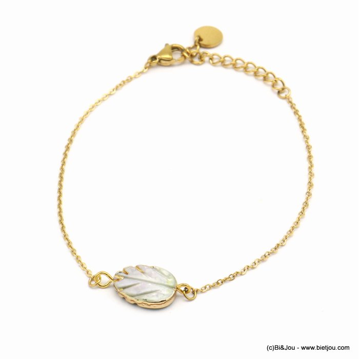 bracelet 0219077-14 shell leaf piece, slave link chain, stainless steel