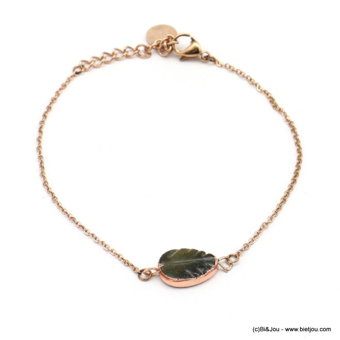 bracelet 0219077-23 shell leaf piece, slave link chain, stainless steel