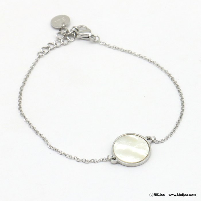 bracelet 0219078-13 piece of shell pendant, slave link chain, stainless steel