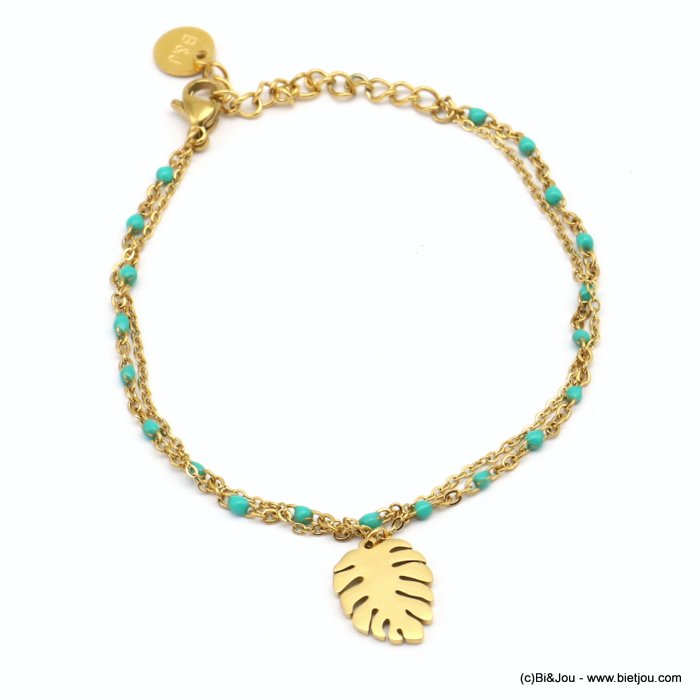 bracelet 0219079-17 double-row, slave link chain, lxH:10x15mm monstera leaf pendant, colorful enamel beads, stainless steel