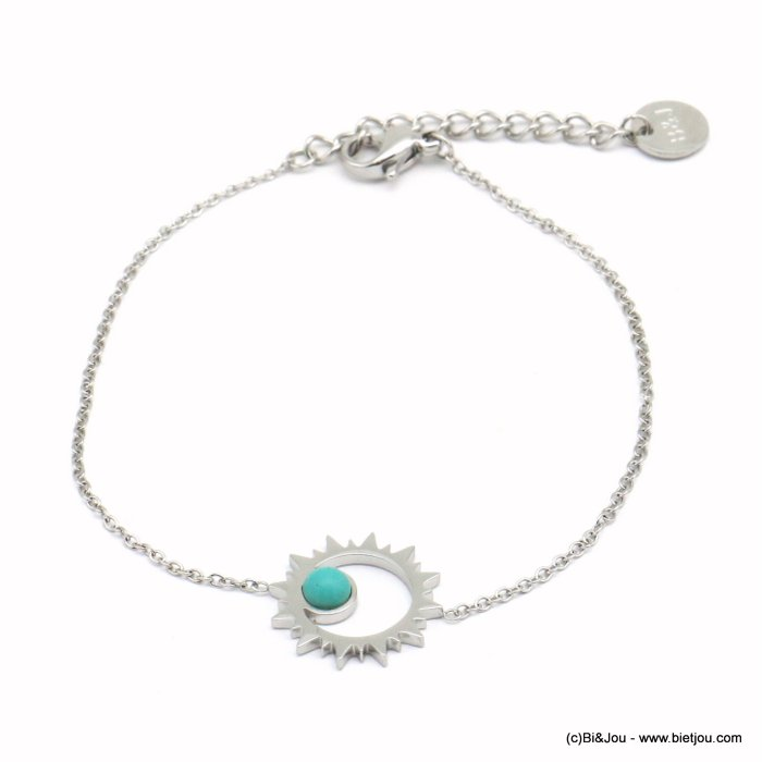 bracelet 0219082-13 sun pendant 15mm, colored cabochon, slave link chain, stainless steel