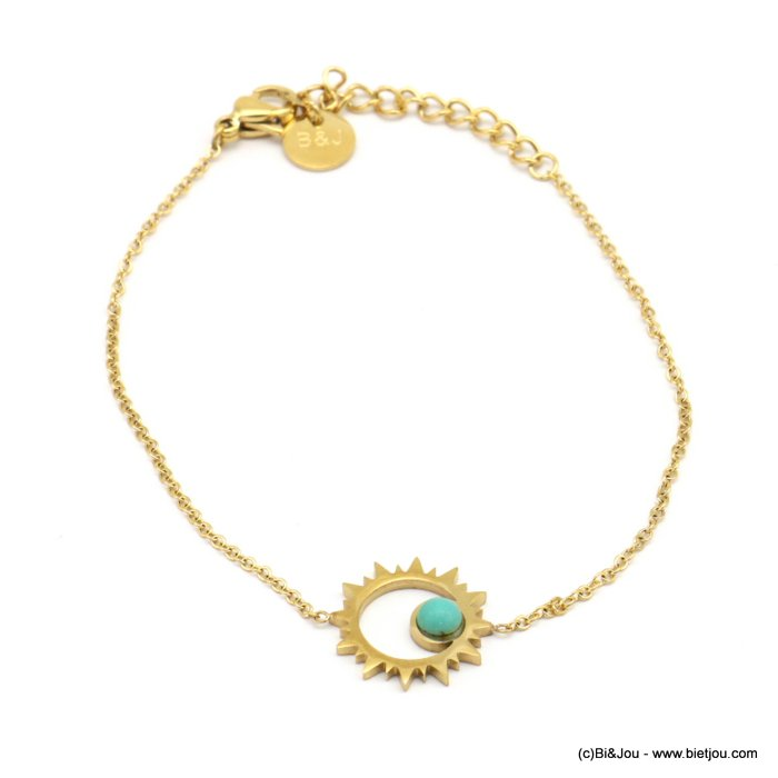bracelet 0219082-14 stainless steel, sun pendant, colored cabochon, slave link chain