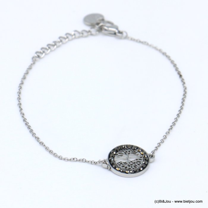 bracelet 0219083-13 stainless steel, tree of life pendant, sequins and rhinestones