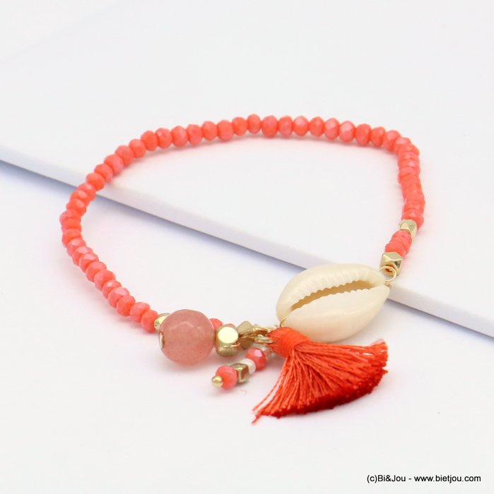 bracelet 0219084-36 elastic cowrie shell faceted stone round bead crystal thread tassel