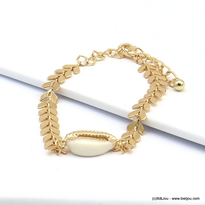 bracelet 0219085-14 golden metal ear of wheat cowrie shell