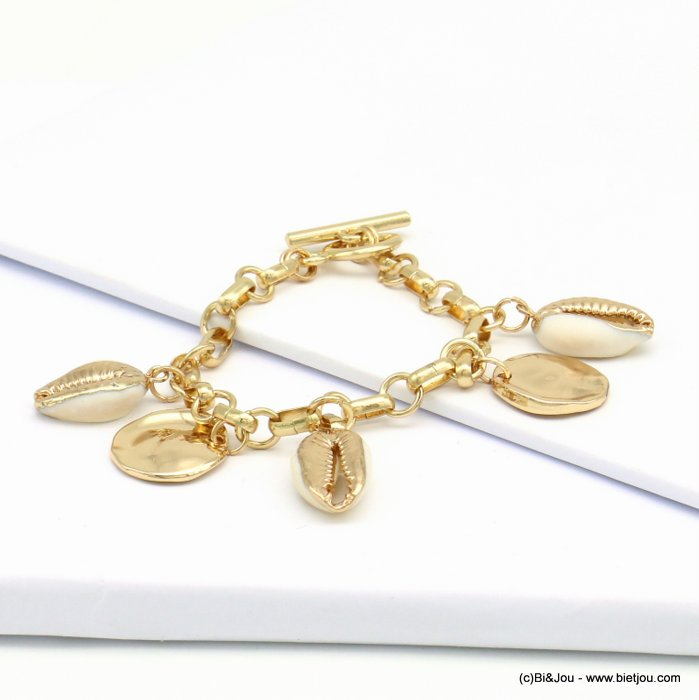 bracelet 0219087-06 cawrie shell belcher chain metal chain toggle clasp