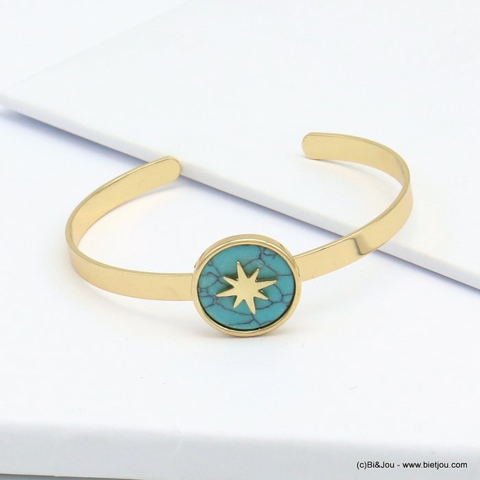 bracelet 0219097-17 open, adjustable, golden brass bangle, round marble disc with north star