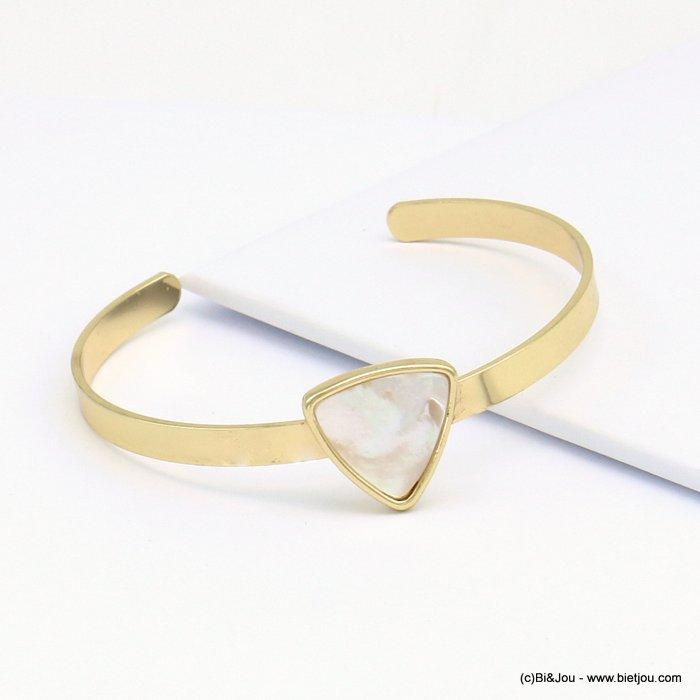 bracelet 0219098-06 adjustable golden bangle, shell, rounded triangle shape