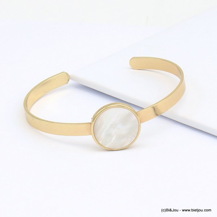 bracelet 0219099-06 open, adjustable golden brass bangle, round shell disc