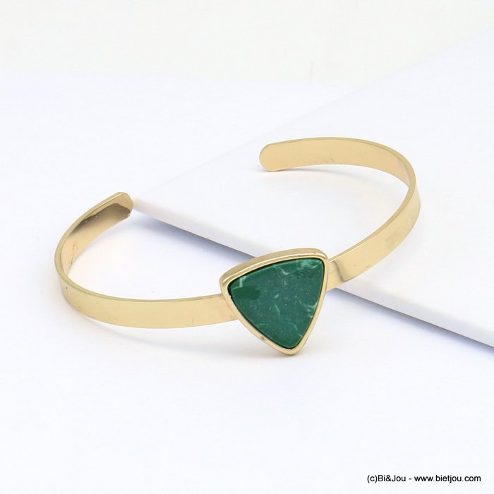 bracelet 0219100-07 open, adjustable , golden brass  bangle, rounded marble triangle
