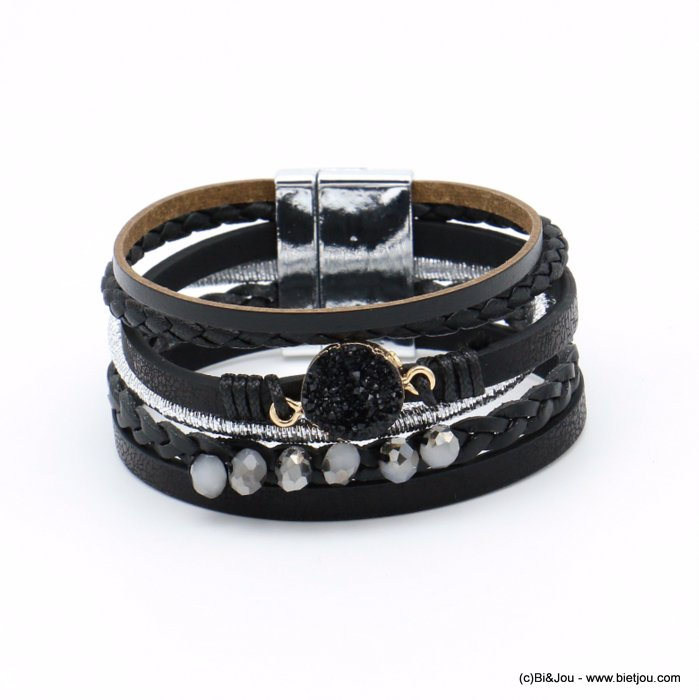 bracelet 0219101-01 magnetic 28x190mm synthetic-metal-crystal-polyester