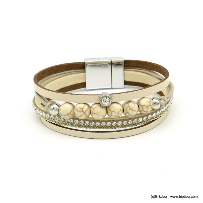 bracelet 0219103-06 magnetic 20x190mm synthetic-metal-reconstituted stone-strass