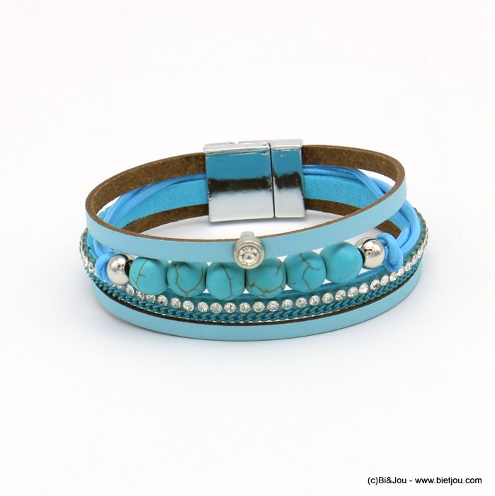 bracelet 0219103-08 magnetic 20x190mm synthetic-metal-reconstituted stone-strass