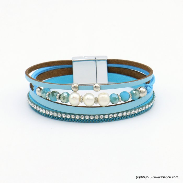 bracelet 0219105-08 magnetic 18x190mm synthetic-metal-strass-crytal-pearl