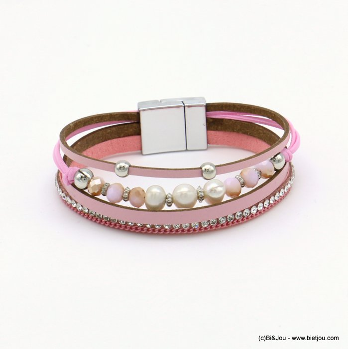 bracelet 0219105-12 magnetic 18x190mm synthetic-metal-strass-crytal-pearl