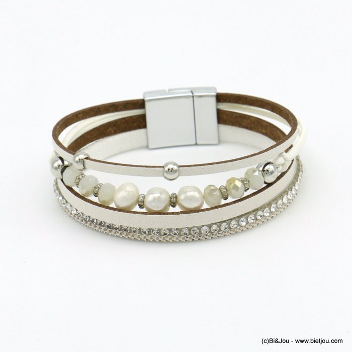 bracelet 0219105-19 magnetic 18x190mm synthetic-metal-strass-crytal-pearl