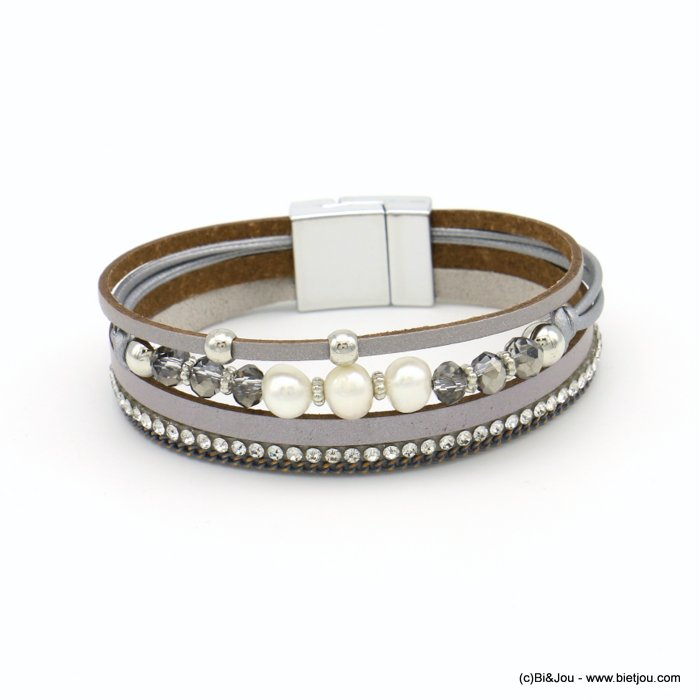 bracelet 0219105-25 magnetic 18x190mm synthetic-metal-strass-crytal-pearl