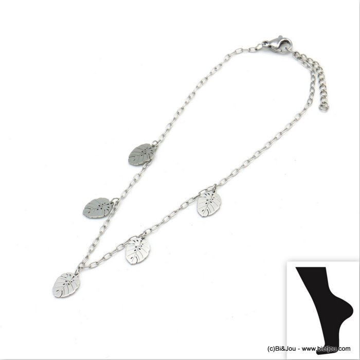 anklet 0219109-13 leaf Monstera stainless steel