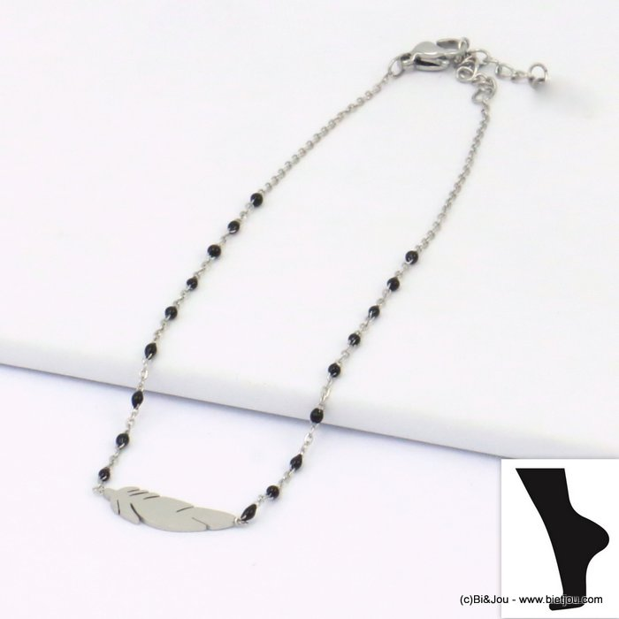 anklet 0219111-01 feather stainless steel enamel