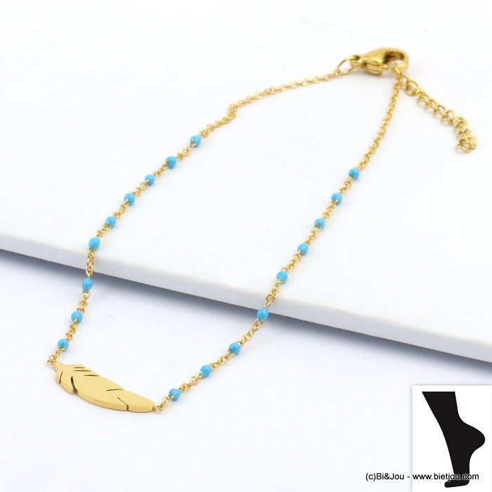 anklet 0219111-08 feather stainless steel enamel