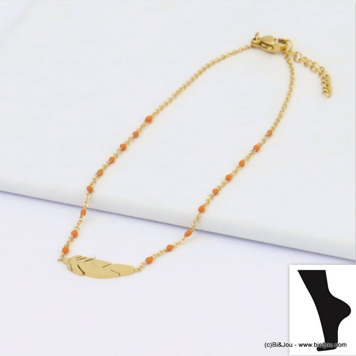 anklet 0219111-11 feather stainless steel enamel