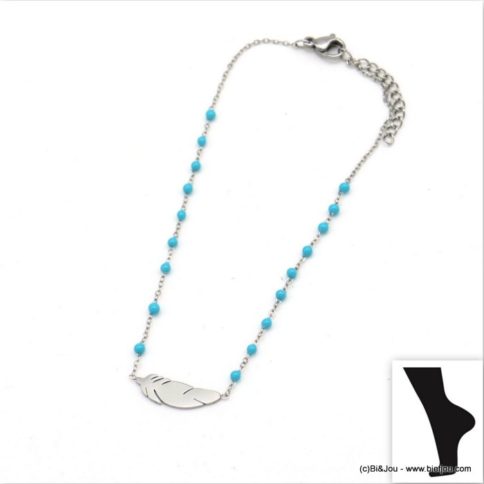 anklet 0219111-17 feather stainless steel-resin