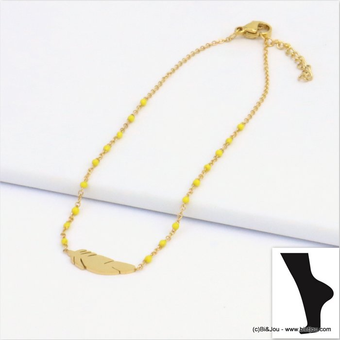 anklet 0219111-43 feather stainless steel enamel