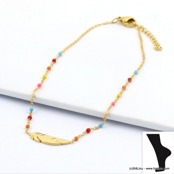 anklet 0219111-99 feather stainless steel enamel