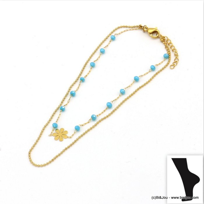 anklet 0219112-17 flower stainless steel-crystal