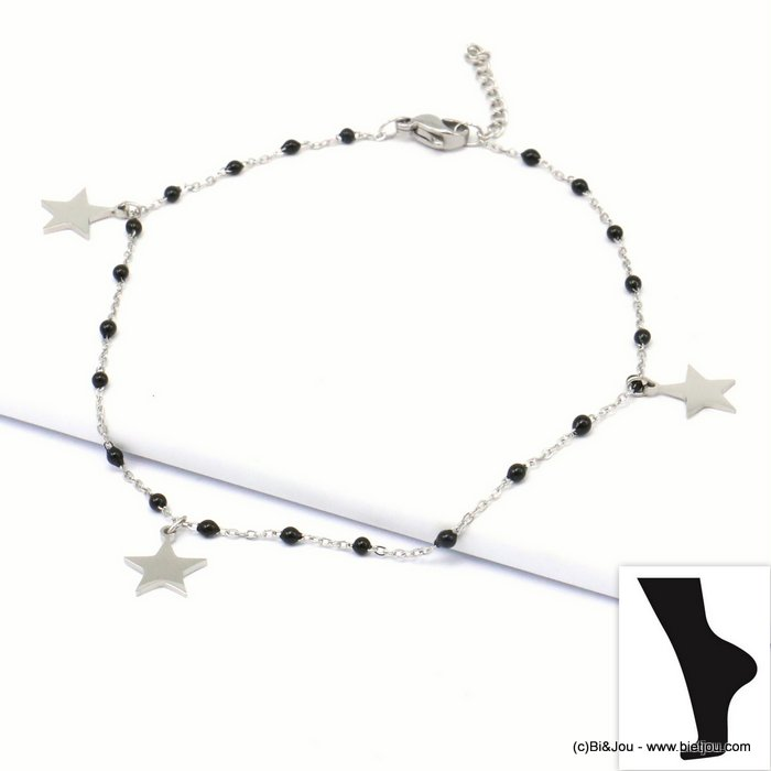 anklet 0219134-01 star stainless steel-enamel slave link chain