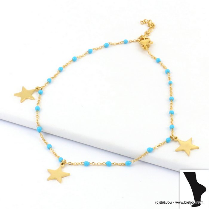 anklet 0219134-17 star stainless steel-enamel slave link chain