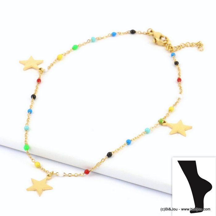 anklet 0219134-99 star stainless steel-enamel slave link chain