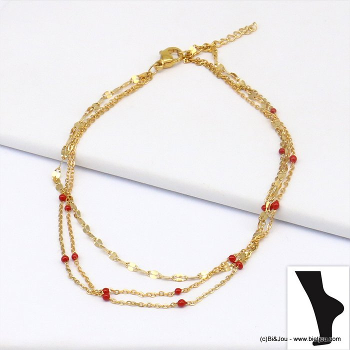 anklet 0219135-12 stainless steel-enamel multi-row slave link chain