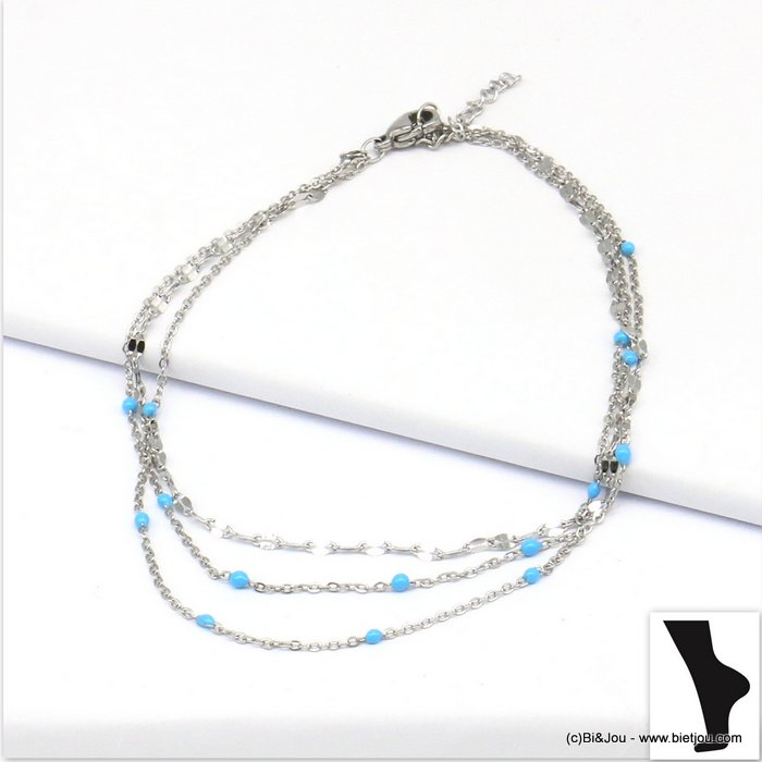 anklet 0219135-17 stainless steel-enamel multi-row slave link chain
