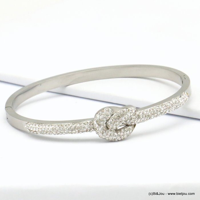 bracelet 0219141-13  stainless steel rhinestone sailor knot openable bangle