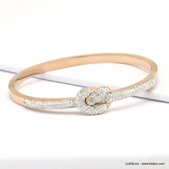 bracelet 0219141-23  stainless steel rhinestone sailor knot openable bangle