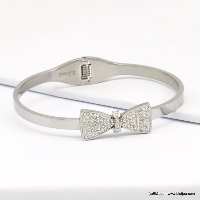 bracelet 0219142-13  stainless steel rhinestone bow tie openable bangle