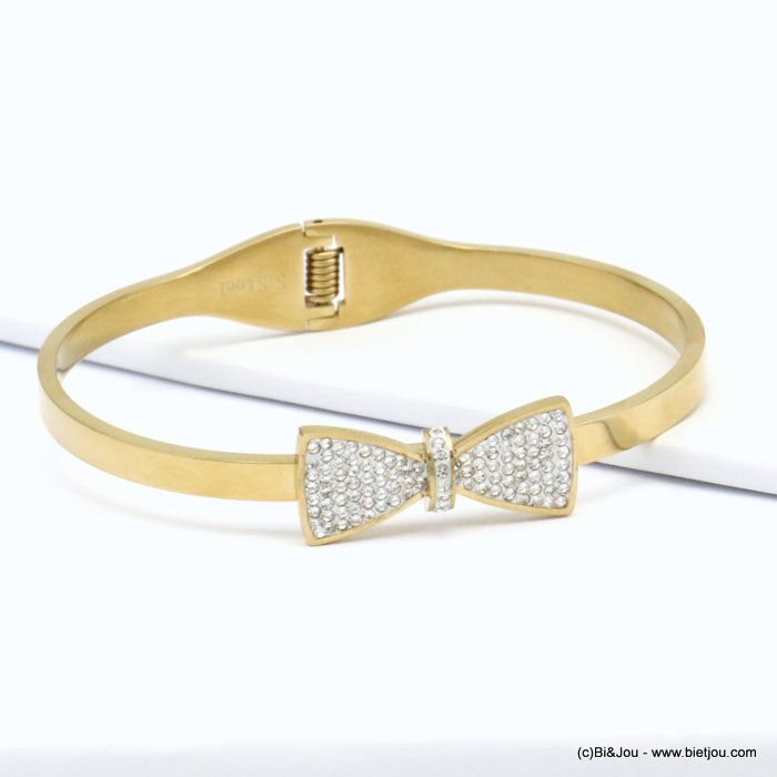 bracelet 0219142-14  stainless steel rhinestone bow tie openable bangle