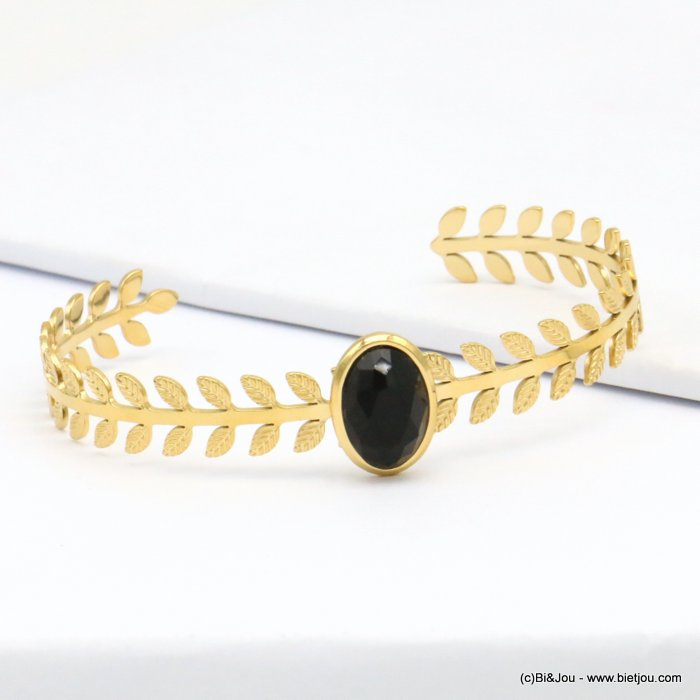 bracelet 0219145-01 stone cabochon stainless steel open 8x60mm