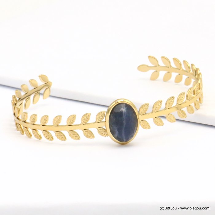 bracelet 0219145-09 stone cabochon stainless steel open 8x60mm