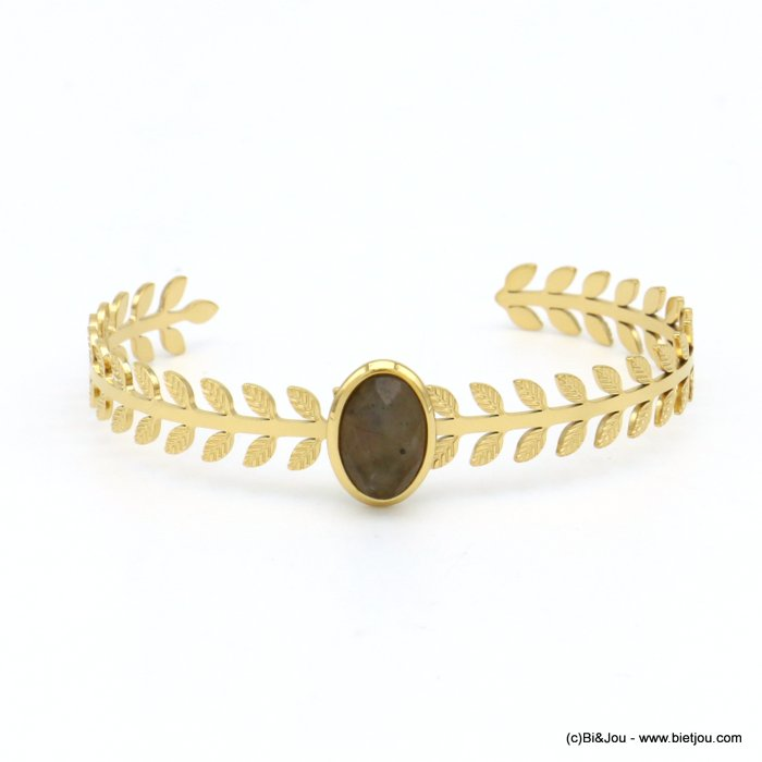 bracelet 0219145-30 stone cabochon stainless steel open 8x60mm