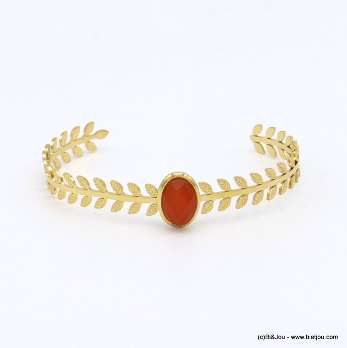 bracelet 0219145-36 stone cabochon stainless steel open 8x60mm
