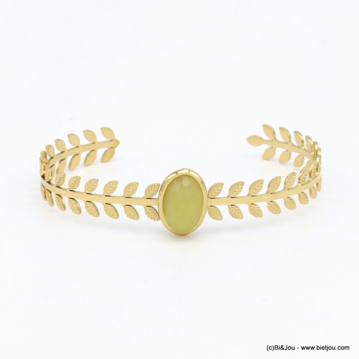 bracelet 0219145-43 stone cabochon stainless steel open 8x60mm