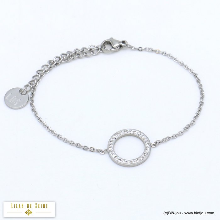 bracelet 0219503-13 rings stainless steel rhinestone woman slave link chain