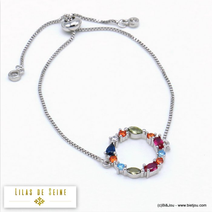 bracelet 0219509-13 adjustable sliding metal-strass 19mm