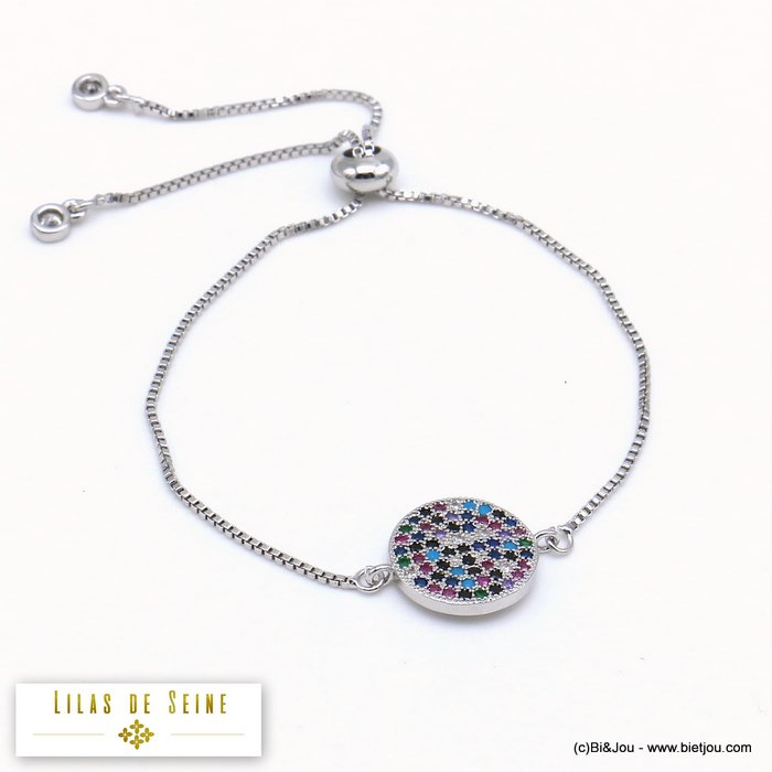 bracelet 0219510-13 adjustable sliding metal-strass 14mm