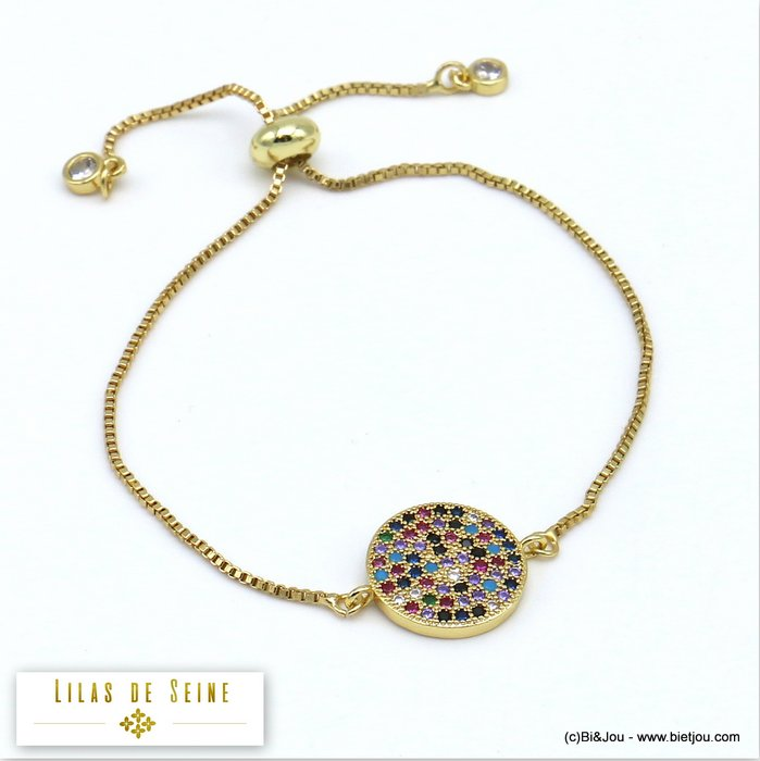 bracelet 0219510-14 adjustable sliding metal-strass 14mm