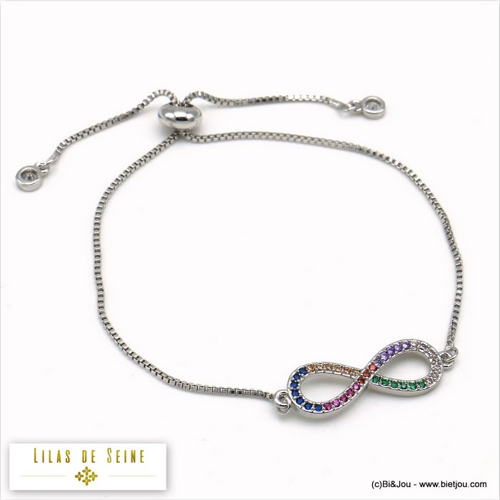 bracelet 0219512-13 infinity adjustable sliding metal-strass 25x4mm