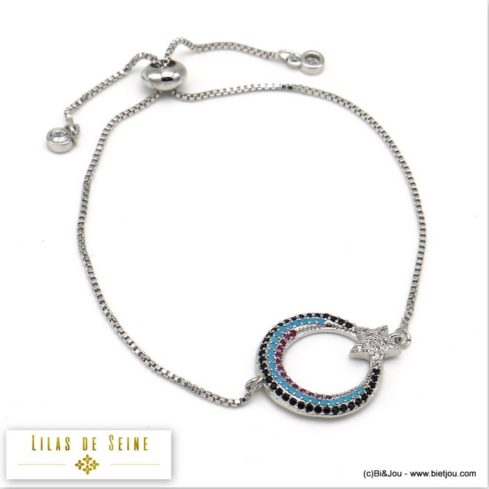 bracelet 0219513-13 moon star adjustable sliding metal-strass 21x18mm