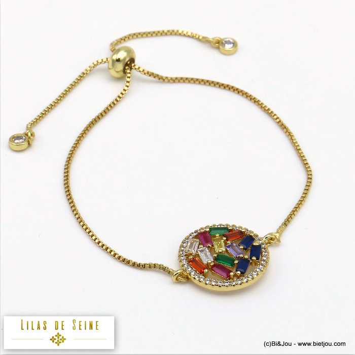 bracelet 0219514-14 adjustable sliding metal-strass 17mm